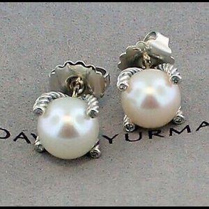 David Yurman 9.5mm Pearl Stud Diamond Earrings